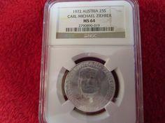1972 Austria 25 shillings Silver Carl Michael Ziehrer  Austrian NGC MS 64 coin