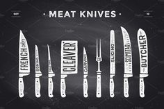 Poster Butcher diagram and scheme – Meat Knife. Set of butcher meat knives for butcher shop and design butcher themes. Vector illustration – My WordPress Website Carnicerias Ideas, Shop Ideas, Grilling Art, Meat Art, Meat Store, Meat Restaurant, Restaurant Design, Global Knife Set, Cleaver Knife