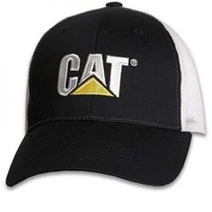 52b81c5db9906 Caterpillar CAT Black   White Twill Mesh Cap