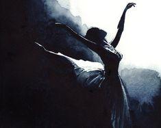 Ballet cisne negro bailarina rendimiento por LauraRowStudio en Etsy