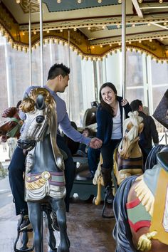 Brooklyn carousel engagement by Tessie Reveliotis Photography
