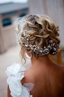 birdcage veil and crystal hair ornament handmade
