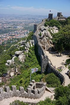 """Castelo dos Mouros (""""Castle of the Moors""""), Sintra, Portugal One of the oldest castles in the world, Castelo dos Mouros is a picturesque ruined castle with a history dating back to the eighth century."""