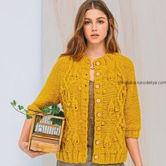Wool Cotton cardigan for women, Knit cardigan with leaves pattern - Plus size available Loom Knitting Patterns, Hand Knitting, Simple Knitting, Crochet Patron, Knit Crochet, Loom Scarf, Sweaters And Jeans, Jacket Pattern, Knit Cardigan