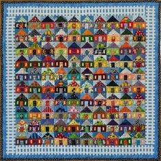 100 Häuser Wanddecke - This quilt shows a colorful neighborhood and employs two techniques on the quilt top — piecing an - Map Quilt, Scrappy Quilts, Mini Quilts, Quilt Top, Quilt Border, House Quilt Patterns, House Quilt Block, Quilt Blocks, Block Patterns