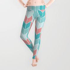 Mint Coral Chevrons Pattern Leggings