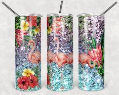 Wine Tumblers, Custom Tumblers, Tumbler With Straw, Tumbler Cups, Tropical Design, Creative Studio, Flamingo, Girly, Glitter