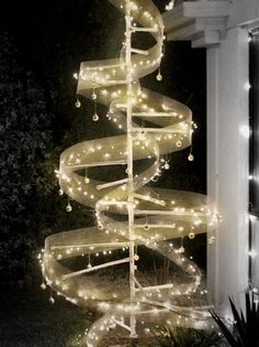 christmas tree outdoor abstract diy led lights pvc pipe nails string indoor made with wire