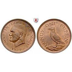 Lundy Island, Puffin 1929, vz-st: Bronze-Puffin 1929. Puffin. Yeo. 2; vorzüglich-stempelfrisch 40,00€ #coins