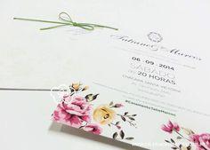 Convite casamento vintage com estampa floral no convite. Envelope com estampa floral em verniz. Menu de casamento vintage e vale conforto em formato de flor. MODELO 03.