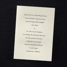 Traditional Grace - Engraved Invitation available through www.JaniceBlackmonEvents.carlsoncraft.com