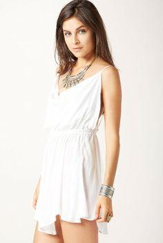 White Cowl Neck Spaghetti Strap Backless Dress