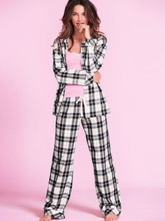 Victoria's Secret Dreamer Flannel Pajama in Grey/White Lurex ...