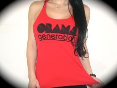 """Utopia Apparel """"OBAMA GENERATION"""" Flowy Knotted Racerback Tank In Red"""