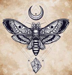 tatouage tete de mort: Décès tête sphinx avec des lunes et des pierres. Design Art de tatouage. Isolated illustration vectorielle. Trendy élément de style Vintage. Sombre romance, la philosophie, la spiritualité, l'occultisme, l'alchimie, la mort, la magie.