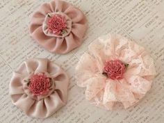 Shabby Chic Rosette Embellishments by StuffDepot on Etsy