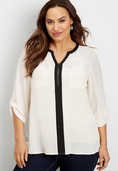 0532b3645 plus size perfect blouse with contrast trim