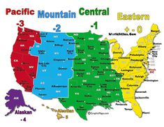 time zone map north america