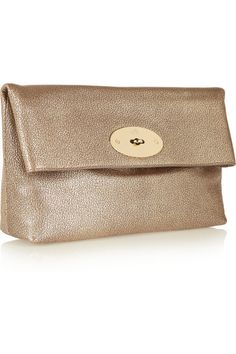 Mulberry | Clemmie metallic textured-leather clutch | NET-A-PORTER.COM