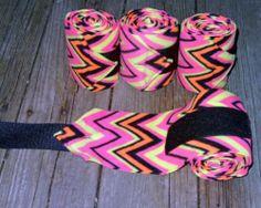 Set of 4 New Soft Fleece Polo Horse Leg Wraps - Neon Pink Yellow Orange Zig Zag