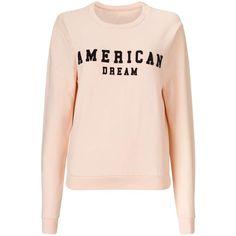 Miss Selfridge Nude American Dream Sweatshirt ($30) ❤ liked on Polyvore featuring tops, hoodies, sweatshirts, nude, long sleeve sweatshirt, long sleeve jersey, pink top, cotton sweatshirts and scoop neck sweatshirt