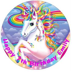 """Unicorn Horse Personalised Edible Cake Topper Wafer Paper 7.5"""""""