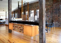 #wine storage and #bar to divide a room?  |  @studiodurham  |  Soulard industrial loft apartment