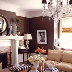 Living room design idea - Home and Garden Design Ideas home interior love the color Shabby chic bedroom headboard ? Home Decor Home Living Room, Living Room Designs, Living Room Decor, Living Spaces, Chocolate Walls, Chocolate Color, Chocolate Bedroom, Home Interior, Brown Interior