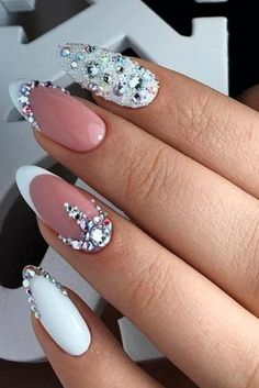 47 Creative Wedding Nails Ideas For Bride - Nails - Nageldesign Simple Wedding Nails, Wedding Manicure, Wedding Nails For Bride, Wedding Nails Design, Weding Nails, Bling Wedding Nails, Rhinestone Wedding, Hair Wedding, Purple Wedding