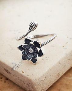 Sterling silver evening lotus ring.