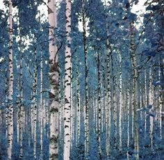 """Color inspiration: Blue, white, and black. """"Birches in Blue"""", via Etsy."""