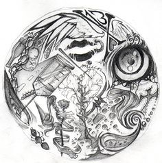 """An assignment (1 of 3) for my art class. Basically, draw a circle, then draw """"whatever"""" in it. Unfortunately I can't just draw """"whatever"""". Everything I do has meaning, so. Oh well. This is my favor..."""