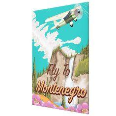 Montenegro vintage flight travel poster canvas print