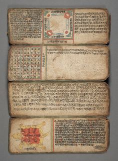 For the love of Books.Book of Astrology and Omens, Nepal, Century, via LACMA Collections. Medieval Books, Medieval Manuscript, Illuminated Manuscript, Old Books, Antique Books, Book Art, Art Postal, E Mc2, Handmade Books