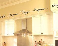 kitchen soffit stencils | Kitchen Words Spices Wall Border So ffit Border Vinyl Wall Decor Decal ...