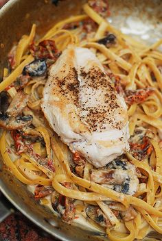 Pasta with chicken, mushrooms, sun-dried tomatoes in a creamy garlic and basil sauce by JuliasAlbum.com