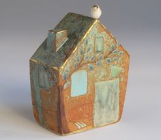Green House with white Bird bank 3 by margaretwozniak on Etsy