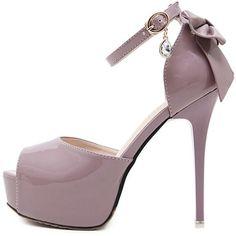 457a819249b9 Light Purple Faux Patent Peep Toe Bow Decor Platform High Heels ( 39) ❤  liked