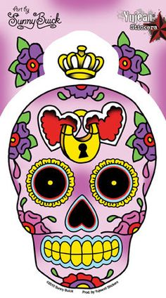 Sunny Buick Heart Lock Sugar Skull Sticker Decal -  Day of the Dead