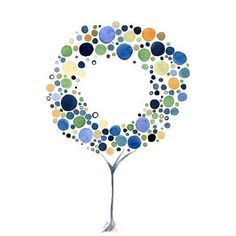 Tree Print A Circle Watercolor Art Reproduction Tree by jellybeans, $18.00
