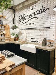 Top 42 Kitchen Design Inspirations from Joanna Gaines www.futuristarchi… Top 42 Kitchen Design Inspirations from Joanna Gaines www. New Kitchen, Kitchen Dining, Kitchen Decor, Kitchen Sink, Kitchen Cabinets, Dark Cabinets, Kitchen Grey, Design Kitchen, Kitchen With Concrete Countertops