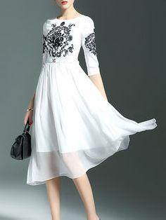 Embroidered High Waist Midi Dress