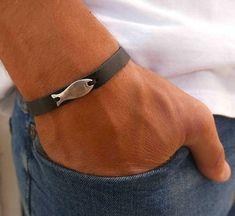 Men's Cuff Bracelet - Men's Leather Bracelet - Men's Bracelet - Men's Jewelry - Men's Gift - Husband Gift - Boyfriend Gift - Present For Men  The simple and beautiful bracelet combines black leather band with a silver plated fish pendant. $21