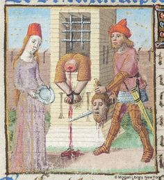 John Baptist: Beheading -- Headless body, bleeding, with hands bound, hangs out of barred window. At left are Salome