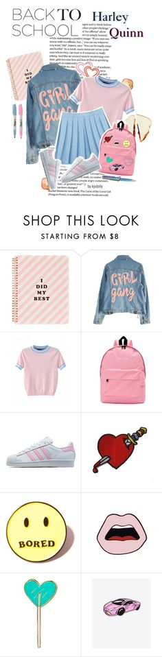 """""""Back to School: Harley Quinn (pastel)"""" by kjvdolly ❤ liked on Polyvore featuring ban.do, High Heels Suicide, adidas Originals, Local Heroes, Yazbukey, Tuesday Bassen and Laser Kitten"""