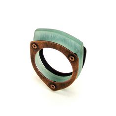 Oxidized Copper and Aqua Resin Riveted Ring - Sentiment. by mkwind, via Etsy.