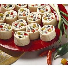 Hidden Valley Pinwheel Sandwiches _ with green onions, pimentos, diced chiles, & sliced ripe olives.