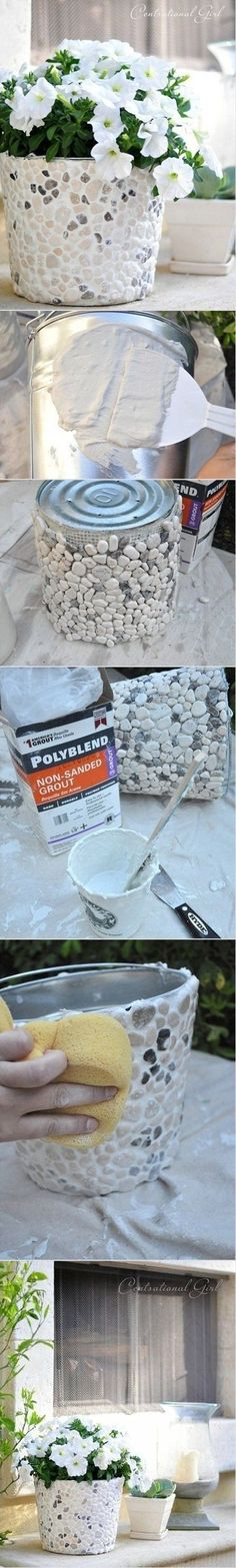 Pebble Planter Cover a bucket in grout and pebbles to make this professional looking planter.