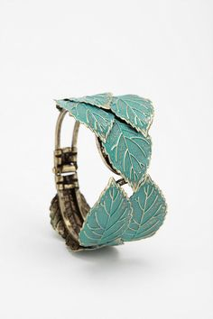 turquoise and gold cuff Urban Outfitters, Jewelry Box, Jewlery, Leaf Jewelry, Jewelry Closet, Chunky Jewelry, Turquoise Jewelry, Turquoise Bracelet, Women's Accessories