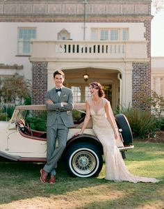 If you are preparing for a vintage-themed wedding,we've gathered for you some cool groom attire ideas. A vintage groom outfit is a must for such wedding. Vintage Wedding Theme, Gatsby Wedding, Wedding Car, Wedding Pics, Wedding Attire, Dream Wedding, Wedding Outfits, Wedding Dress, Groom Outfit